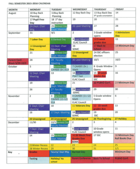 Informational Fall Calendar for Faculty