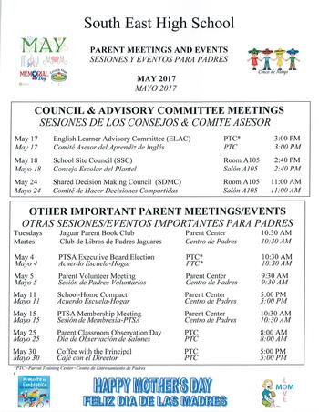 PARENT MEETINGS EVENTS-MAY 2017