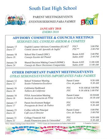 Parent Meeting/Events January 2018