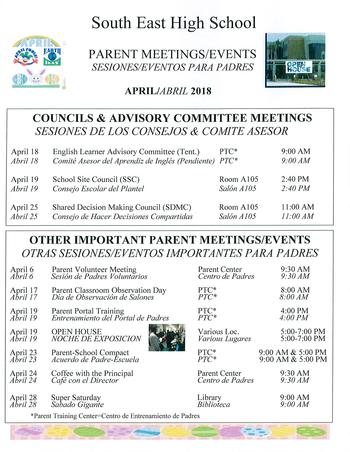 Parent Meeting/Events April 2018